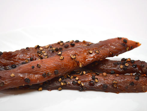 Sockeye Peppercorn Strips Smoked Salmon